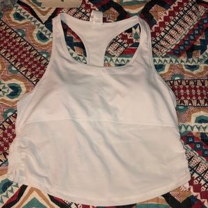 White tank with sports bra, fabletics!